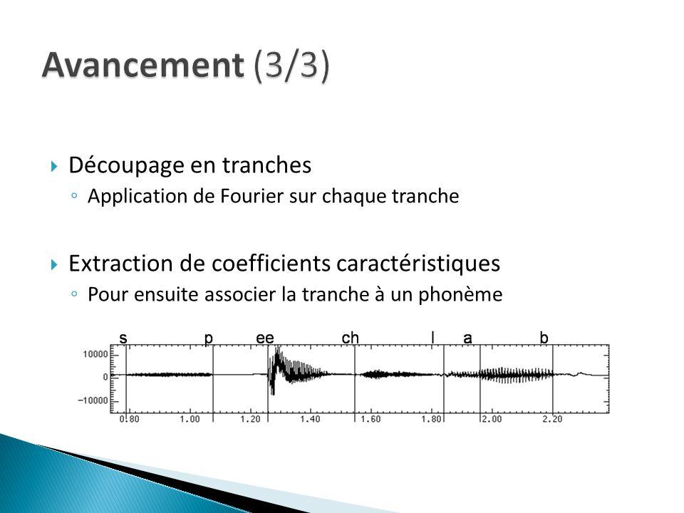 Découpage en tranches Application de Fourier sur chaque tranche Extraction de coefficients caractéristiques Pour ensuite associer la tranche à un phonème