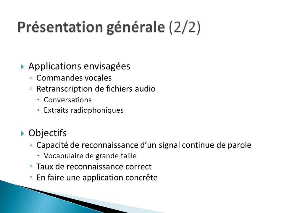 Applications envisagées Commandes vocales Retranscription de fichiers audio Conversations Extraits radiophoniques Objectifs Capacité de reconnaissance