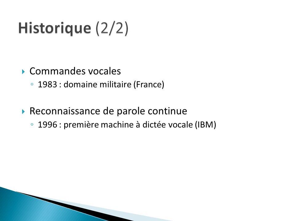 Commandes vocales 1983 : domaine militaire (France) Reconnaissance de parole continue 1996 : première machine à dictée vocale (IBM)