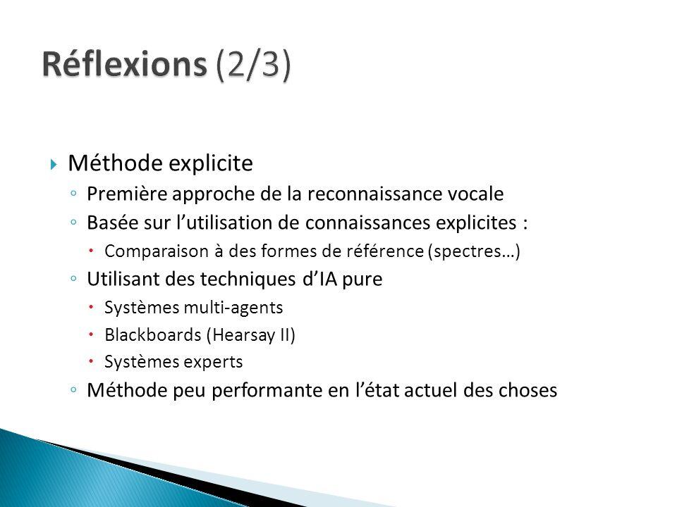 Méthode explicite Première approche de la reconnaissance vocale Basée sur lutilisation de connaissances explicites : Comparaison à des formes de référ
