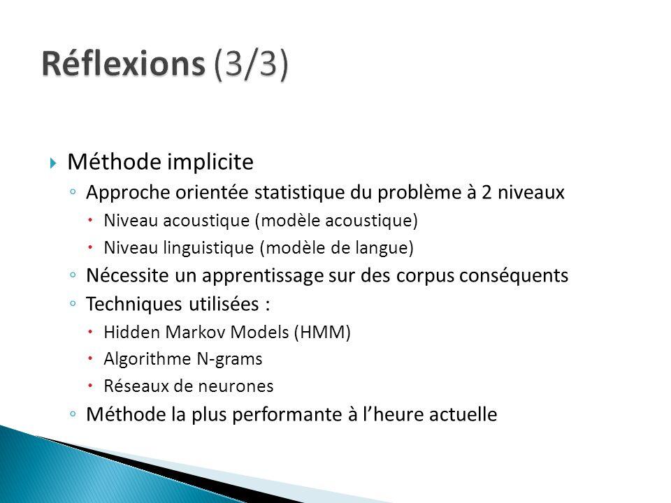 Méthode implicite Approche orientée statistique du problème à 2 niveaux Niveau acoustique (modèle acoustique) Niveau linguistique (modèle de langue) N