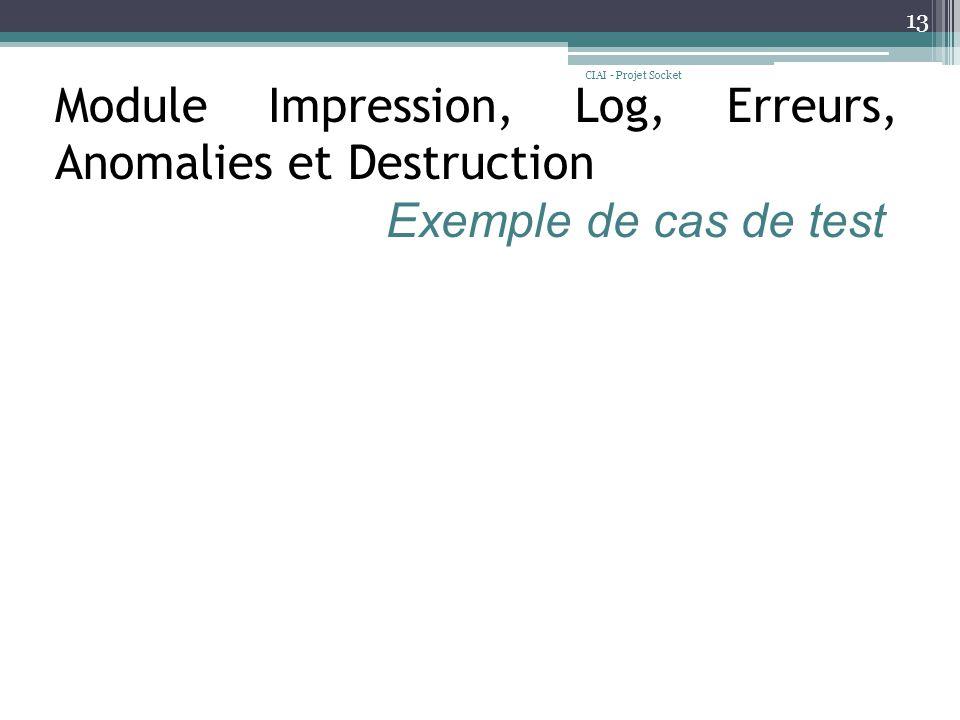 CIAI - Projet Socket 13 Module Impression, Log, Erreurs, Anomalies et Destruction Exemple de cas de test