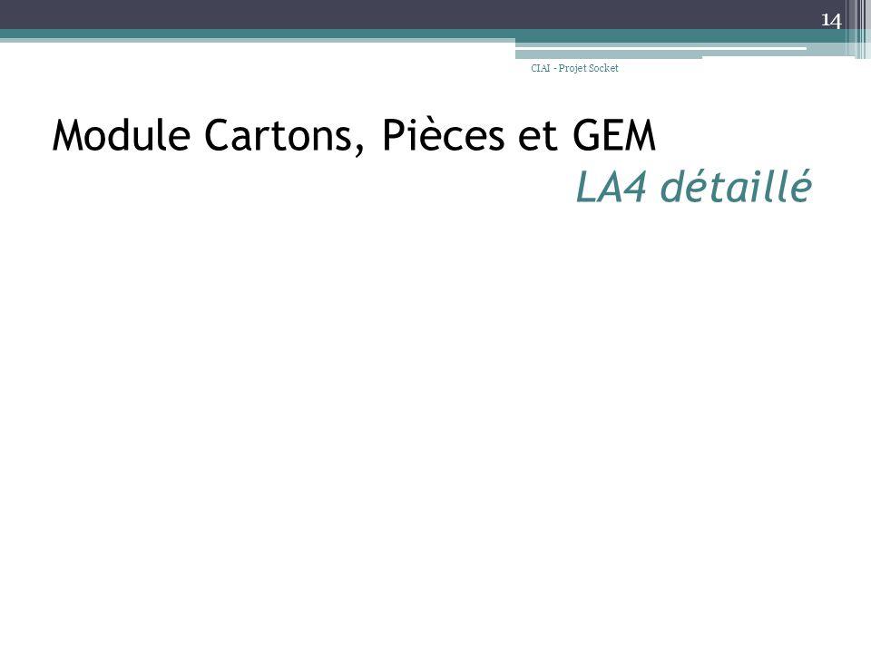 Module Cartons, Pièces et GEM LA4 détaillé CIAI - Projet Socket 14