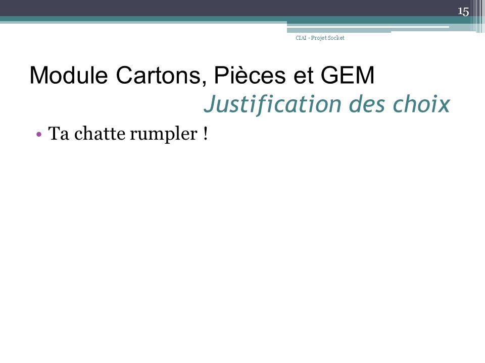 Module Cartons, Pièces et GEM Justification des choix Ta chatte rumpler ! CIAI - Projet Socket 15