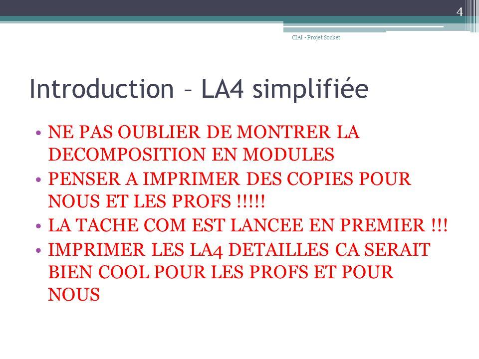 Introduction – LA4 simplifiée NE PAS OUBLIER DE MONTRER LA DECOMPOSITION EN MODULES PENSER A IMPRIMER DES COPIES POUR NOUS ET LES PROFS !!!!.