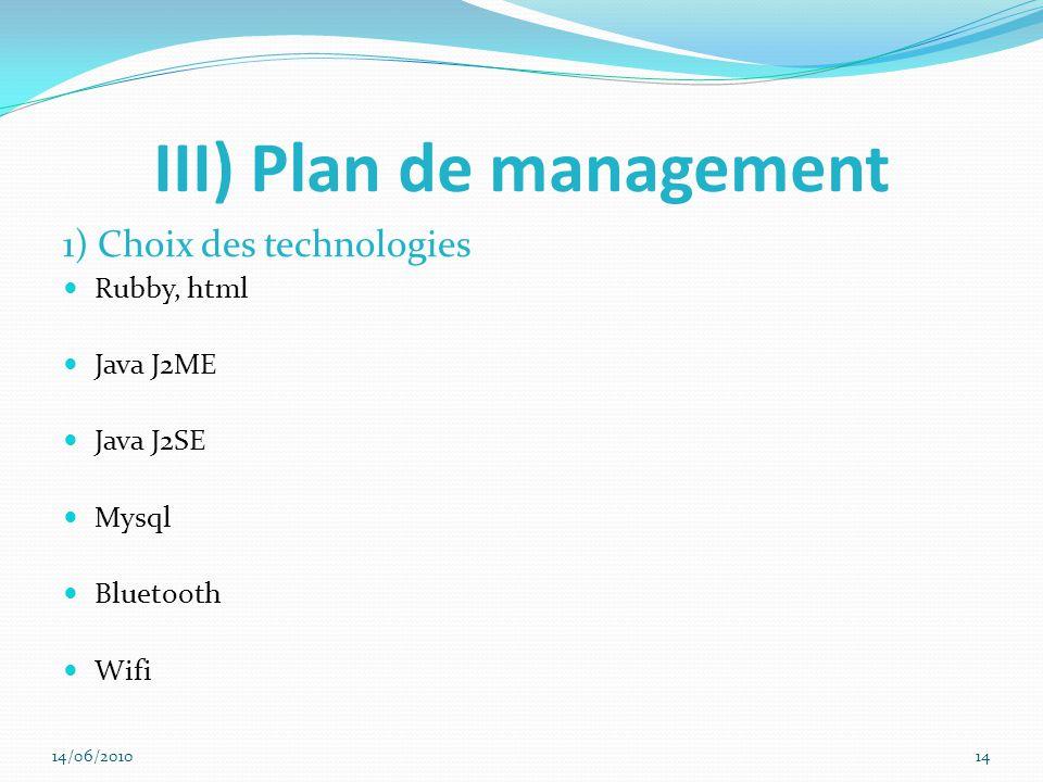 III) Plan de management 1) Choix des technologies Rubby, html Java J2ME Java J2SE Mysql Bluetooth Wifi 14/06/201014
