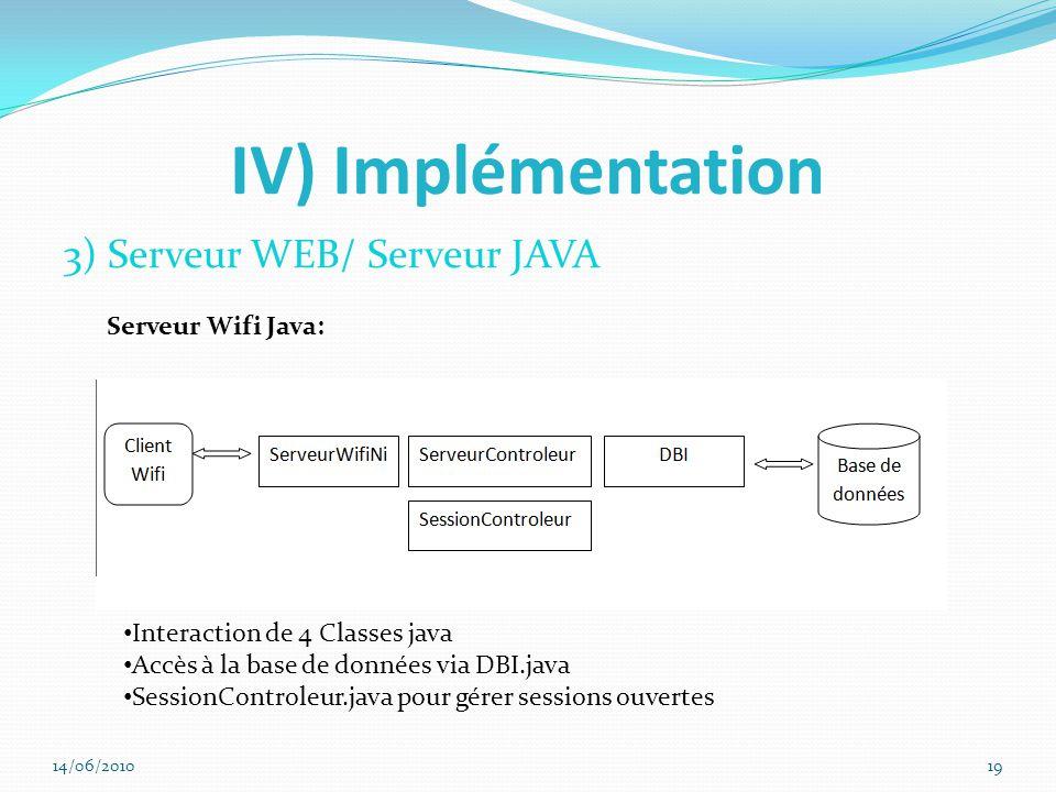 IV) Implémentation 3) Serveur WEB/ Serveur JAVA Interaction de 4 Classes java Accès à la base de données via DBI.java SessionControleur.java pour gérer sessions ouvertes Serveur Wifi Java: 14/06/201019
