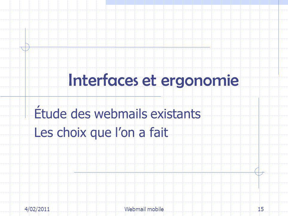 Interfaces et ergonomie Étude des webmails existants Les choix que lon a fait 4/02/2011Webmail mobile15