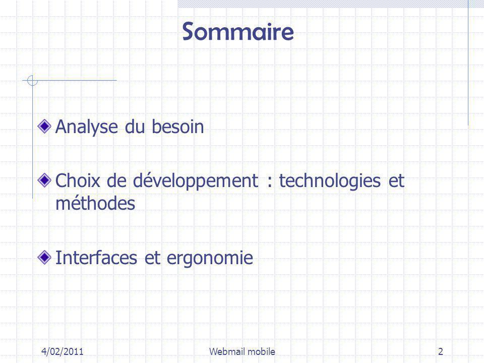 Sommaire Analyse du besoin Choix de développement : technologies et méthodes Interfaces et ergonomie 4/02/2011Webmail mobile2