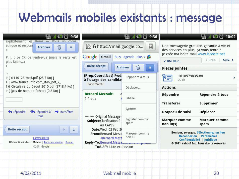 4/02/2011Webmail mobile20 Webmails mobiles existants : message