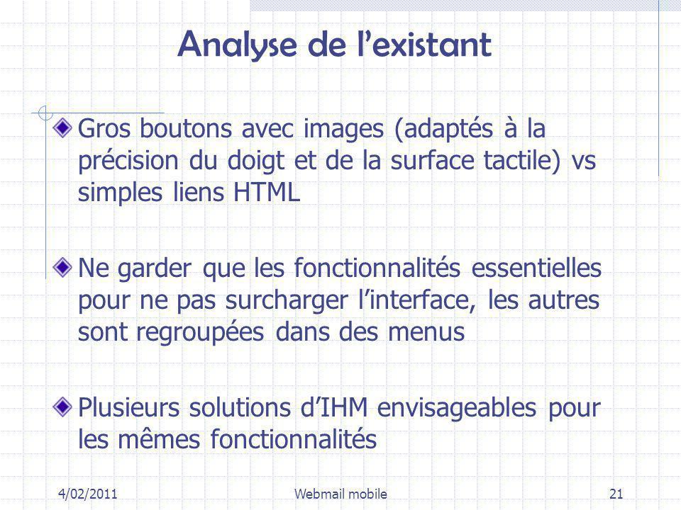 Analyse de lexistant Gros boutons avec images (adaptés à la précision du doigt et de la surface tactile) vs simples liens HTML Ne garder que les fonct