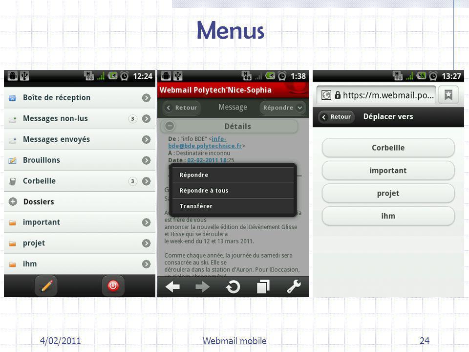 Menus 4/02/2011Webmail mobile24