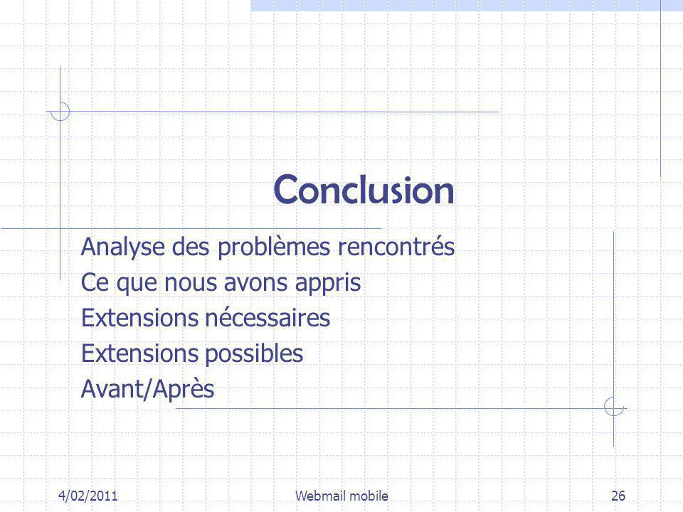 Conclusion 4/02/2011Webmail mobile26 Analyse des problèmes rencontrés Ce que nous avons appris Extensions nécessaires Extensions possibles Avant/Après