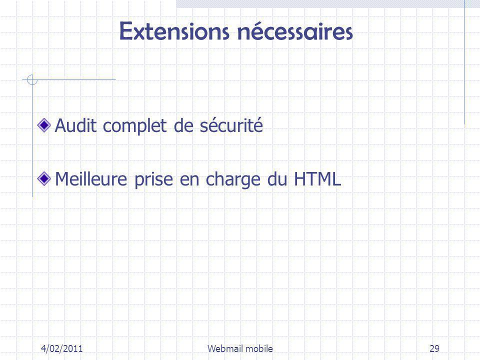 Extensions nécessaires Audit complet de sécurité Meilleure prise en charge du HTML 4/02/2011Webmail mobile29