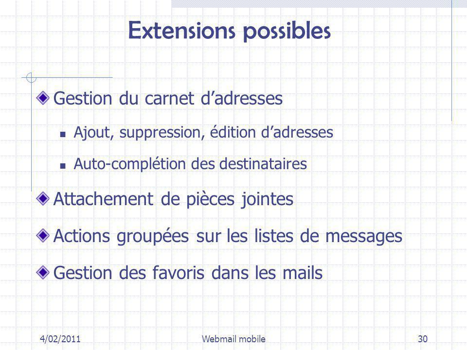 Extensions possibles Gestion du carnet dadresses Ajout, suppression, édition dadresses Auto-complétion des destinataires Attachement de pièces jointes