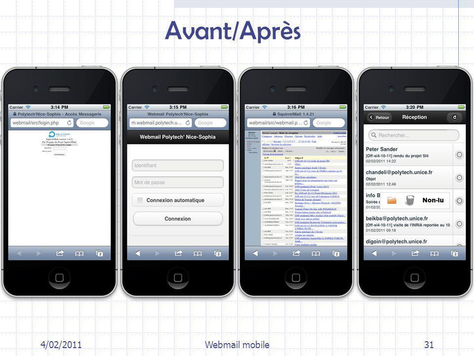 Avant/Après 4/02/2011Webmail mobile31