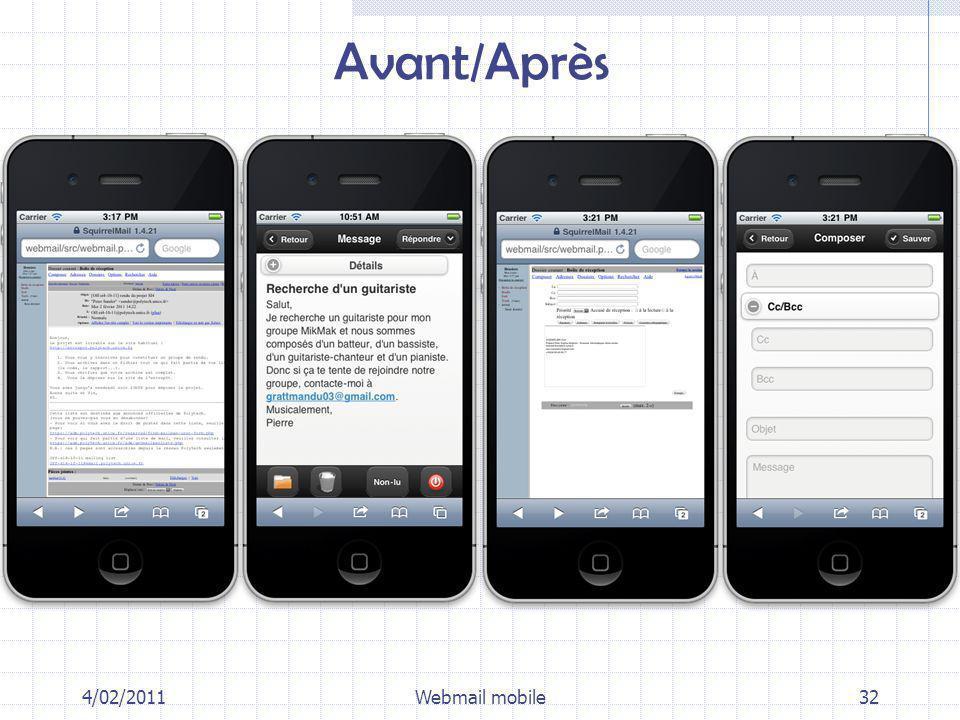 4/02/2011Webmail mobile32 Avant/Après