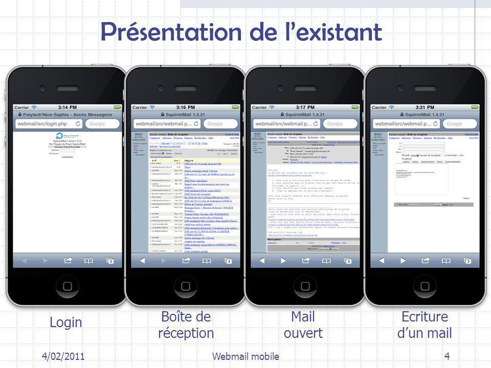 Ergonomie tactile : pagination, swipe, toolbars 4/02/2011Webmail mobile25
