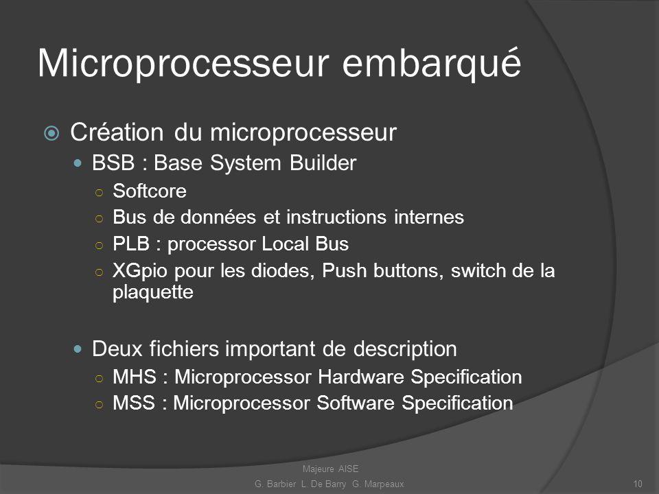 Microprocesseur embarqué Création du microprocesseur BSB : Base System Builder Softcore Bus de données et instructions internes PLB : processor Local