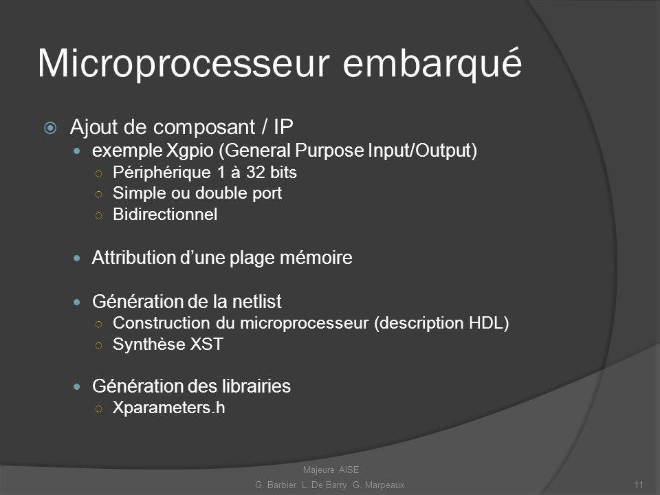 Microprocesseur embarqué Ajout de composant / IP exemple Xgpio (General Purpose Input/Output) Périphérique 1 à 32 bits Simple ou double port Bidirecti