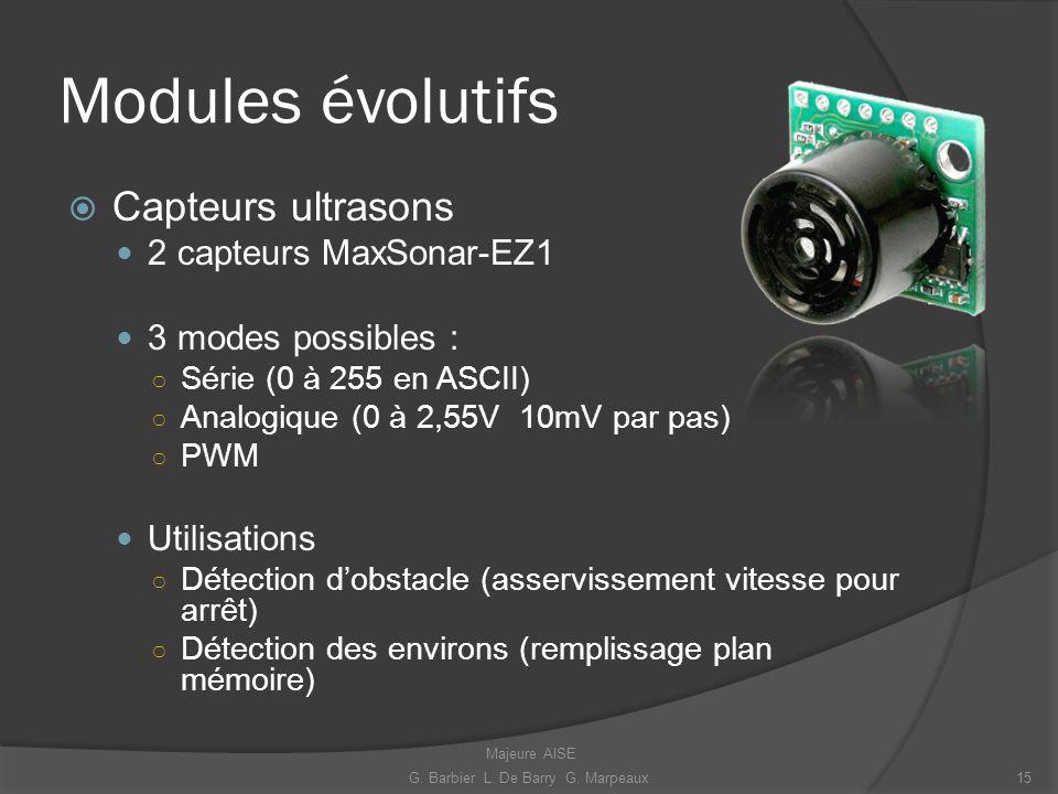 Modules évolutifs Capteurs ultrasons 2 capteurs MaxSonar-EZ1 3 modes possibles : Série (0 à 255 en ASCII) Analogique (0 à 2,55V 10mV par pas) PWM Util