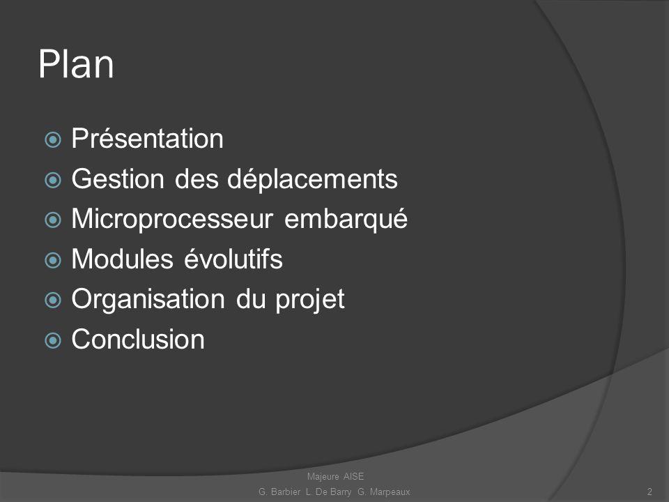 Plan Présentation Gestion des déplacements Microprocesseur embarqué Modules évolutifs Organisation du projet Conclusion 2G. Barbier L. De Barry G. Mar