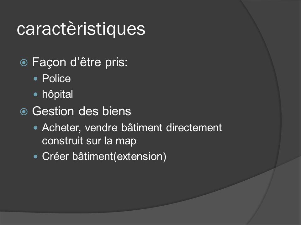 caractèristiques Façon dêtre pris: Police hôpital Gestion des biens Acheter, vendre bâtiment directement construit sur la map Créer bâtiment(extension