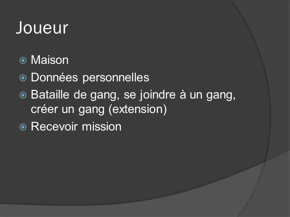 Joueur Maison Données personnelles Bataille de gang, se joindre à un gang, créer un gang (extension) Recevoir mission