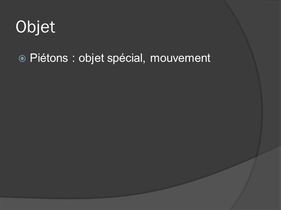 Objet Piétons : objet spécial, mouvement