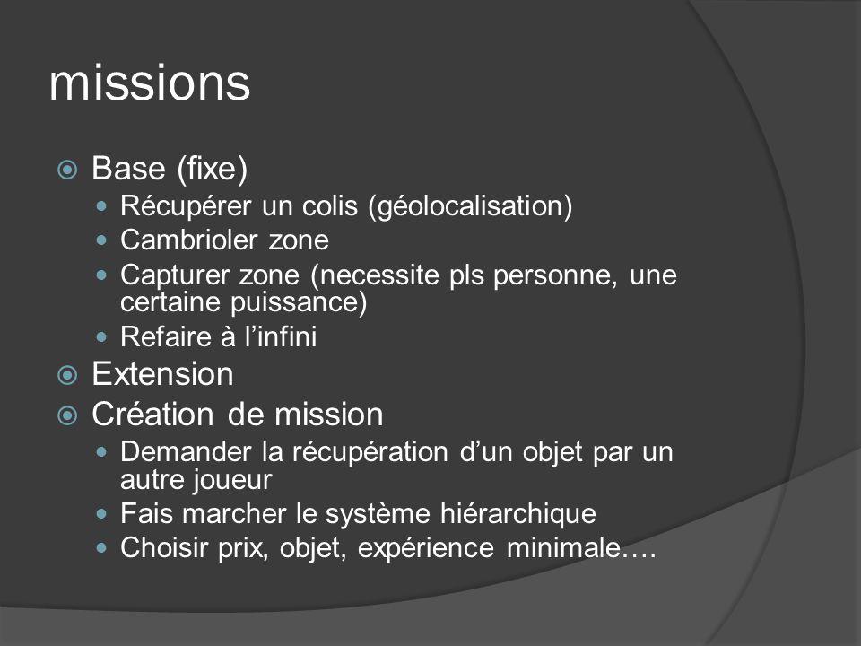 missions Base (fixe) Récupérer un colis (géolocalisation) Cambrioler zone Capturer zone (necessite pls personne, une certaine puissance) Refaire à lin