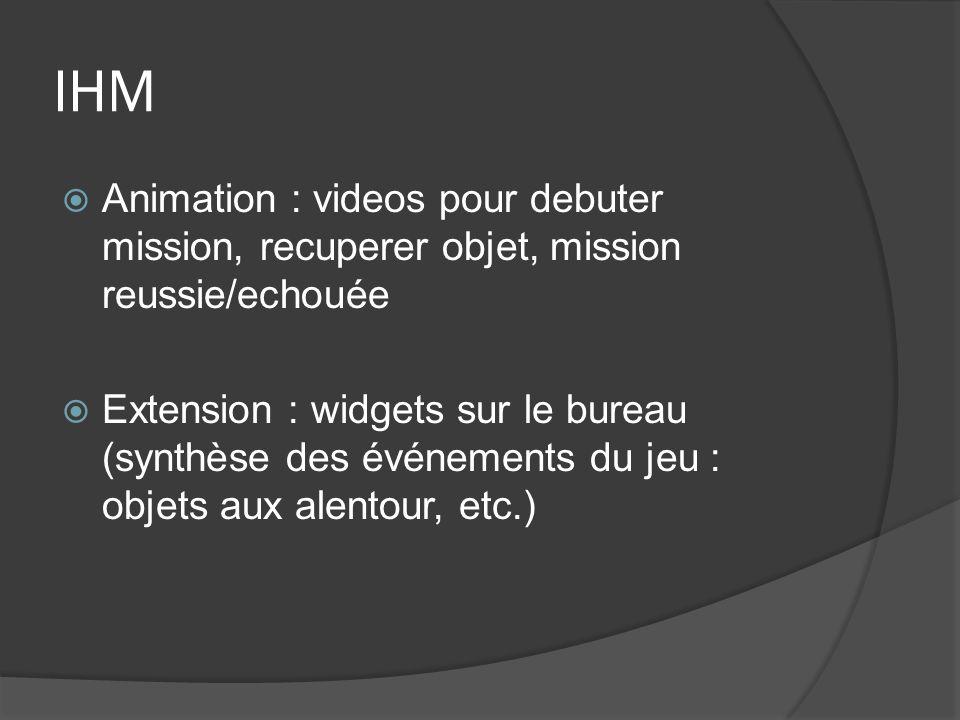 IHM Animation : videos pour debuter mission, recuperer objet, mission reussie/echouée Extension : widgets sur le bureau (synthèse des événements du je