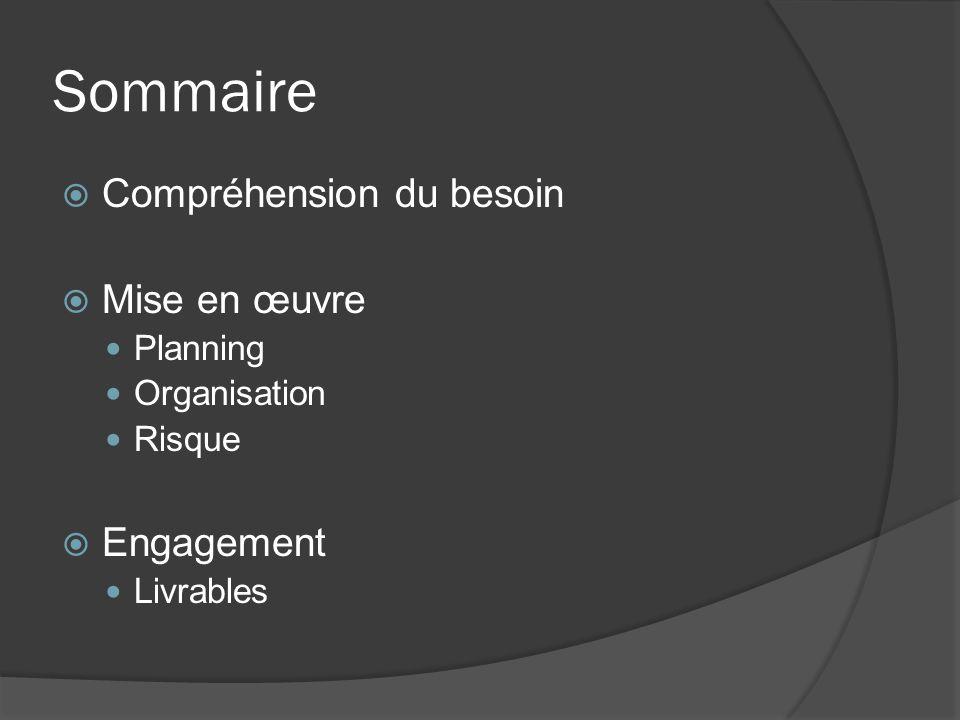 Sommaire Compréhension du besoin Mise en œuvre Planning Organisation Risque Engagement Livrables