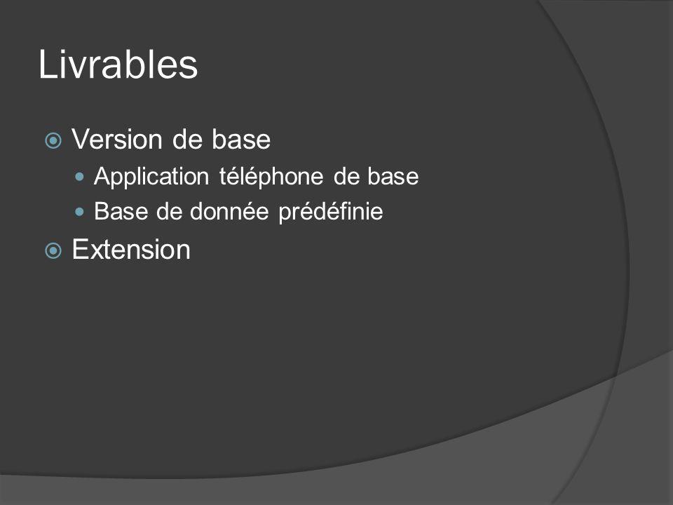Livrables Version de base Application téléphone de base Base de donnée prédéfinie Extension