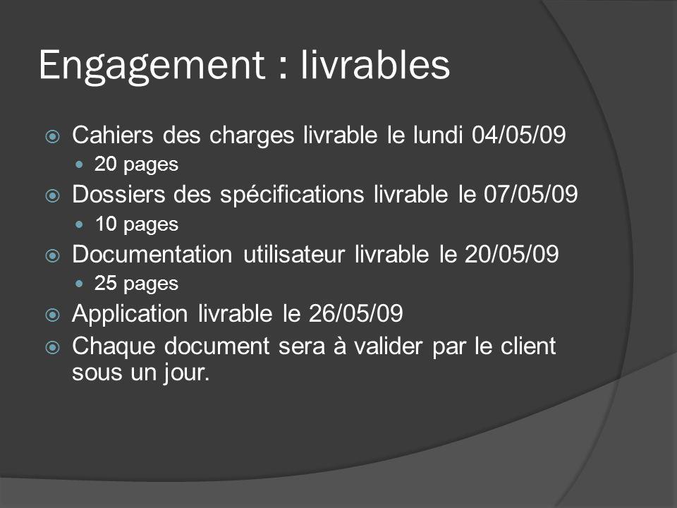 Engagement : livrables Cahiers des charges livrable le lundi 04/05/09 20 pages Dossiers des spécifications livrable le 07/05/09 10 pages Documentation