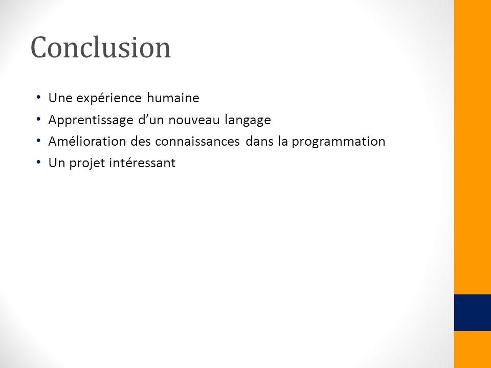 Conclusion Une expérience humaine Apprentissage dun nouveau langage Amélioration des connaissances dans la programmation Un projet intéressant