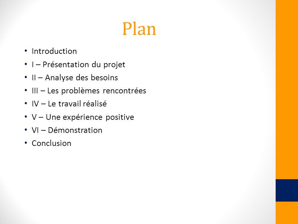Plan Introduction I – Présentation du projet II – Analyse des besoins III – Les problèmes rencontrées IV – Le travail réalisé V – Une expérience posit