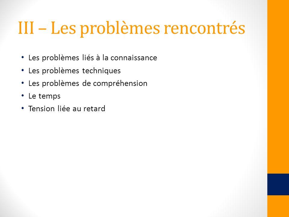 III – Les problèmes rencontrés Les problèmes liés à la connaissance Les problèmes techniques Les problèmes de compréhension Le temps Tension liée au r