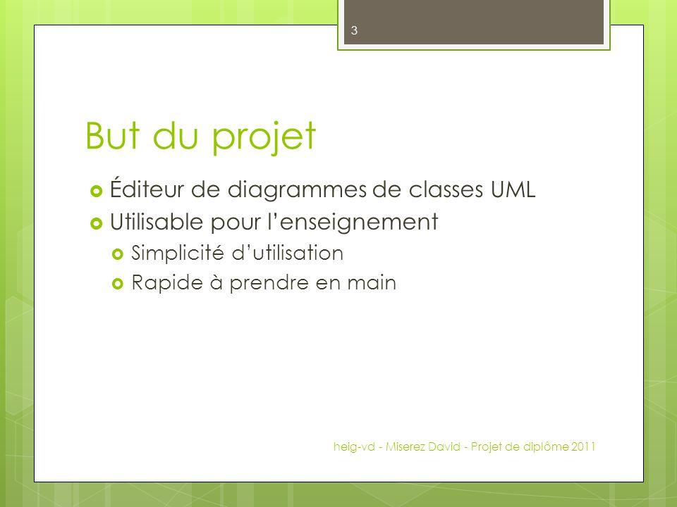 But du projet Éditeur de diagrammes de classes UML Utilisable pour lenseignement Simplicité dutilisation Rapide à prendre en main heig-vd - Miserez Da
