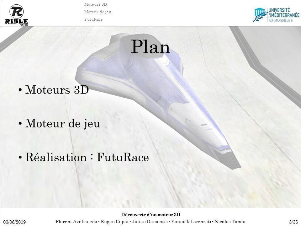 Florent Avellaneda - Eugen Cepoi - Julien Demontis - Yannick Lorenzati - Nicolas Tanda Découverte dun moteur 3D Moteurs 3D Moteur de jeu FutuRace 03/06/20093/35 Plan Moteurs 3D Moteur de jeu Réalisation : FutuRace