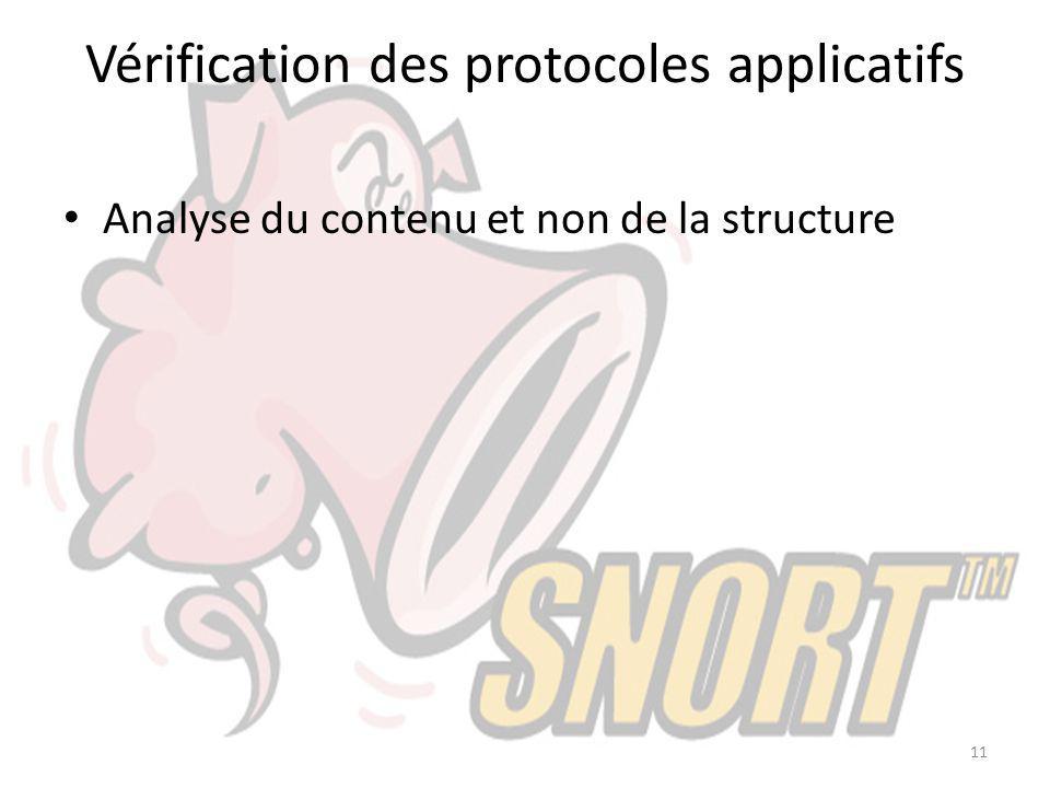 Vérification des protocoles applicatifs Analyse du contenu et non de la structure 11