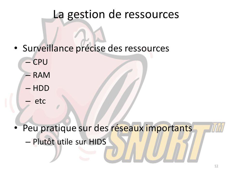 La gestion de ressources Surveillance précise des ressources – CPU – RAM – HDD – etc Peu pratique sur des réseaux importants – Plutôt utile sur HIDS 1