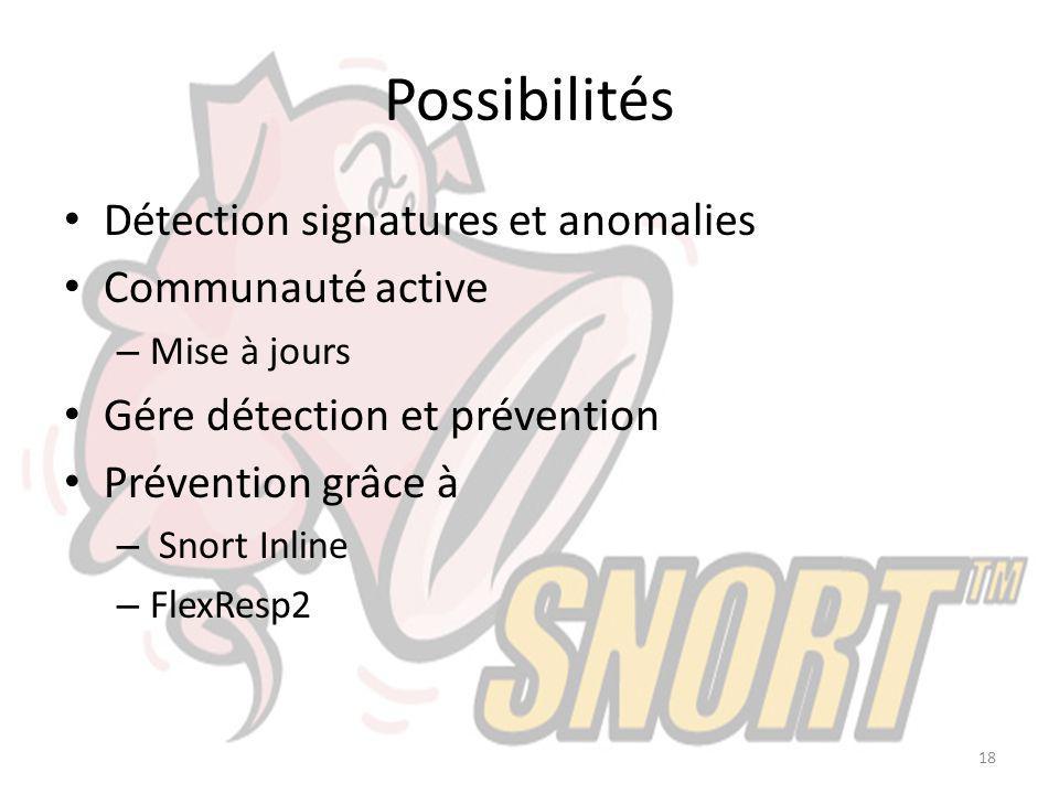 Possibilités Détection signatures et anomalies Communauté active – Mise à jours Gére détection et prévention Prévention grâce à – Snort Inline – FlexR