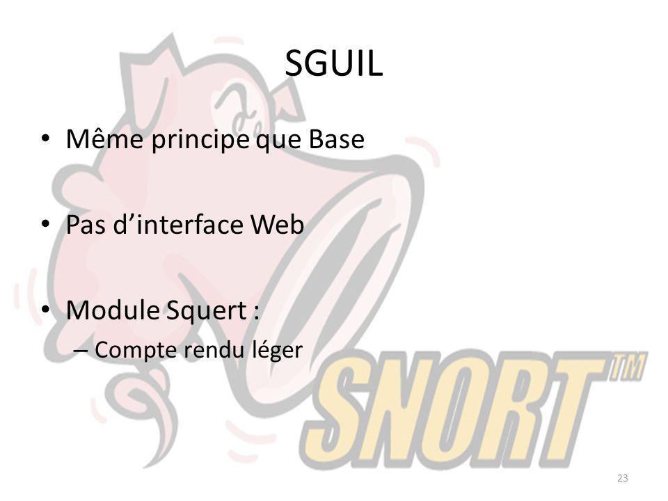 SGUIL Même principe que Base Pas dinterface Web Module Squert : – Compte rendu léger 23