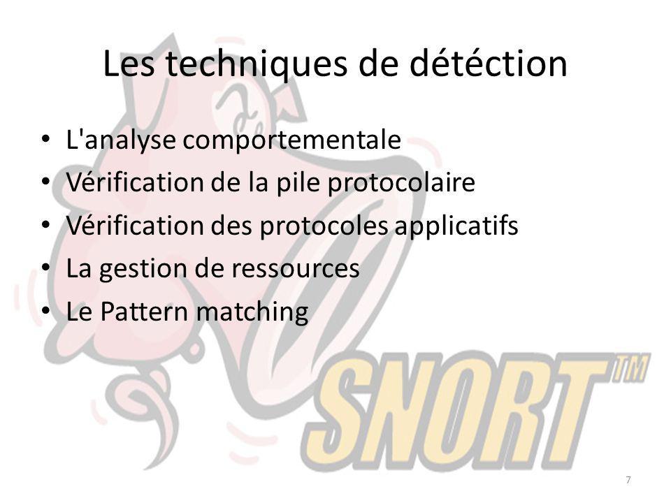 Les techniques de détéction L'analyse comportementale Vérification de la pile protocolaire Vérification des protocoles applicatifs La gestion de resso