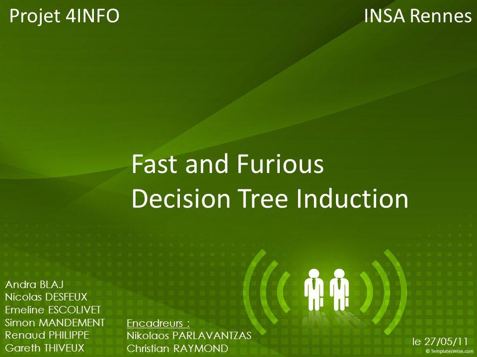 Fast and Furious Decision Tree Induction Projet 4INFO 1 Andra BLAJ Nicolas DESFEUX Emeline ESCOLIVET Simon MANDEMENT Renaud PHILIPPE Gareth THIVEUX En
