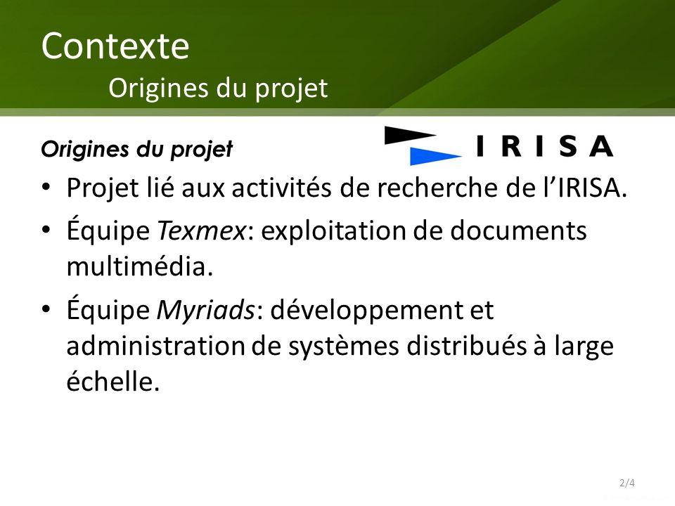 Contexte Origines du projet Origines du projet Projet lié aux activités de recherche de lIRISA. Équipe Texmex: exploitation de documents multimédia. É