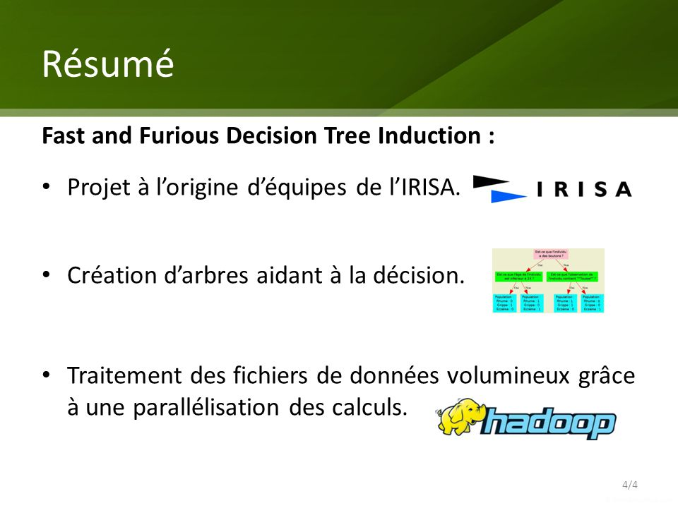 Résumé 4/4 Fast and Furious Decision Tree Induction : Projet à lorigine déquipes de lIRISA.