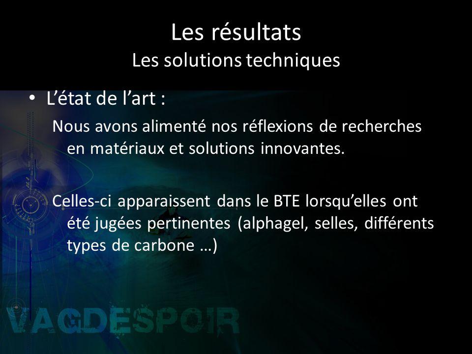 Les résultats Les solutions techniques Létat de lart : Nous avons alimenté nos réflexions de recherches en matériaux et solutions innovantes.