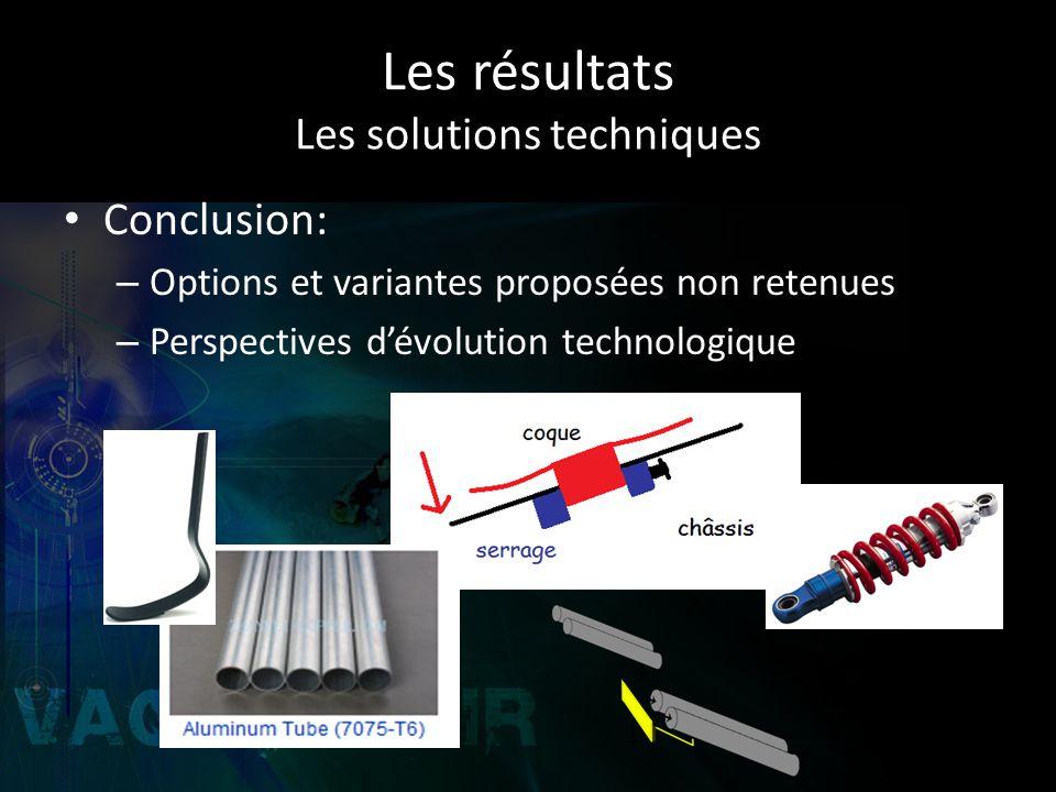 Les résultats Les solutions techniques Conclusion: – Options et variantes proposées non retenues – Perspectives dévolution technologique