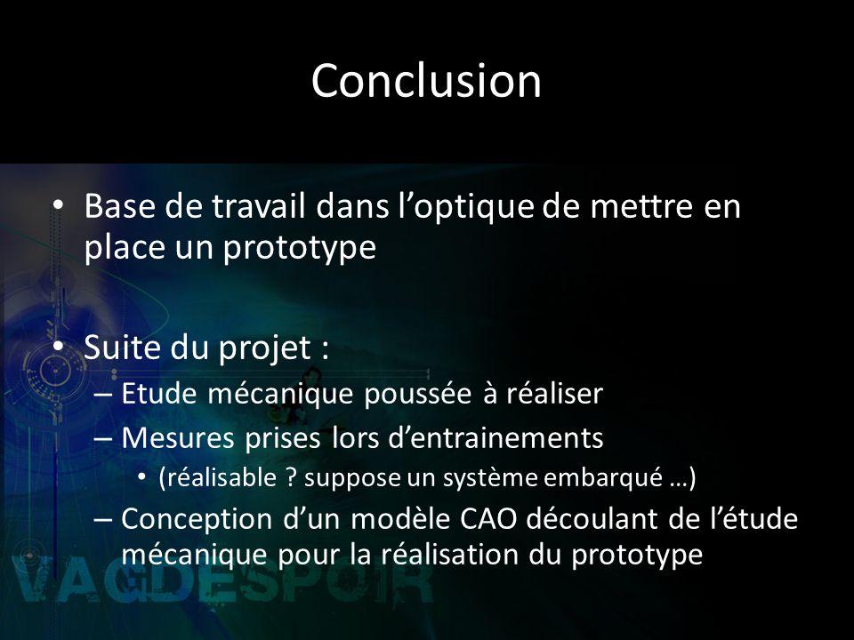 Conclusion Base de travail dans loptique de mettre en place un prototype Suite du projet : – Etude mécanique poussée à réaliser – Mesures prises lors dentrainements (réalisable .
